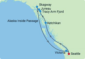 Alaska Cruise CME Sailing Itinerary Map