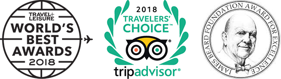 Travel + Leisure, Trip Advisor, & James Beard 2018