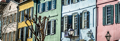 The Colorful Rainbow Row of Charleston